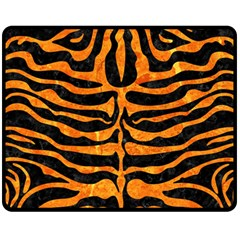 Skin2 Black Marble & Orange Marble Fleece Blanket (medium)