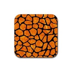 Skin1 Black Marble & Orange Marble Rubber Square Coaster (4 Pack)