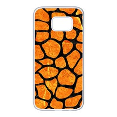 Skin1 Black Marble & Orange Marble Samsung Galaxy S7 Edge White Seamless Case
