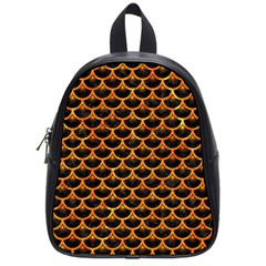 Scales3 Black Marble & Orange Marble School Bag (small)