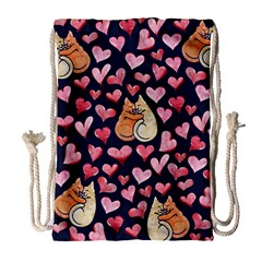 Crazy Cat Love Drawstring Bag (large)