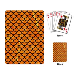 Scales1 Black Marble & Orange Marble (r) Playing Cards Single Design