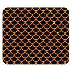 Scales1 Black Marble & Orange Marble Double Sided Flano Blanket (small)