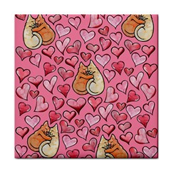 Cat Love Valentine Tile Coasters