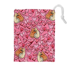 Cat Love Valentine Drawstring Pouches (extra Large)