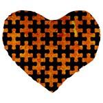PUZZLE1 BLACK MARBLE & ORANGE MARBLE Large 19  Premium Flano Heart Shape Cushion Front