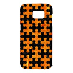 Puzzle1 Black Marble & Orange Marble Samsung Galaxy S7 Edge Hardshell Case