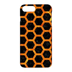 Hexagon2 Black Marble & Orange Marble Apple Iphone 7 Plus Hardshell Case