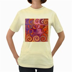 Candy Abstract Pink, Purple, Orange Women s Yellow T-Shirt