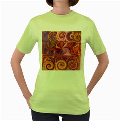 Candy Abstract Pink, Purple, Orange Women s Green T Shirt
