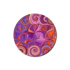 Candy Abstract Pink, Purple, Orange Rubber Round Coaster (4 pack)
