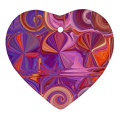 Candy Abstract Pink, Purple, Orange Heart Ornament (2 Sides)