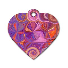 Candy Abstract Pink, Purple, Orange Dog Tag Heart (Two Sides)