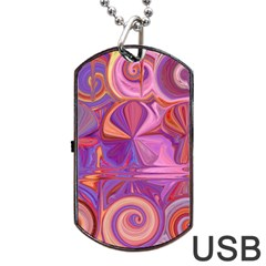 Candy Abstract Pink, Purple, Orange Dog Tag USB Flash (One Side)