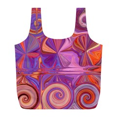 Candy Abstract Pink, Purple, Orange Full Print Recycle Bags (L)
