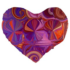 Candy Abstract Pink, Purple, Orange Large 19  Premium Flano Heart Shape Cushions