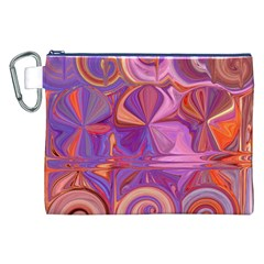 Candy Abstract Pink, Purple, Orange Canvas Cosmetic Bag (XXL)
