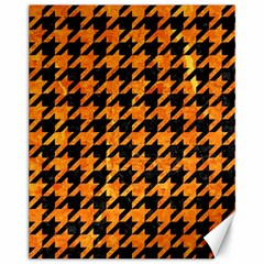 Houndstooth1 Black Marble & Orange Marble Canvas 11  X 14