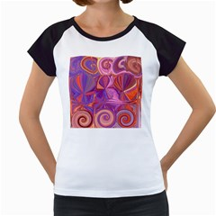 Candy Abstract Pink, Purple, Orange Women s Cap Sleeve T