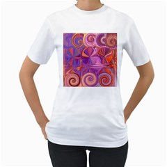 Candy Abstract Pink, Purple, Orange Women s T-Shirt (White) (Two Sided)