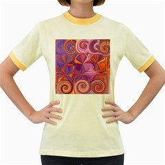 Candy Abstract Pink, Purple, Orange Women s Fitted Ringer T Shirts