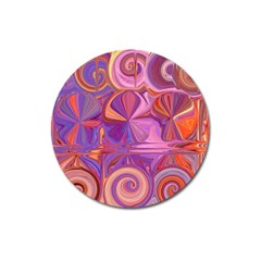 Candy Abstract Pink, Purple, Orange Magnet 3  (round)
