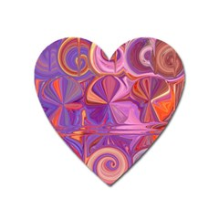 Candy Abstract Pink, Purple, Orange Heart Magnet