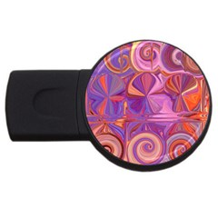 Candy Abstract Pink, Purple, Orange Usb Flash Drive Round (2 Gb)