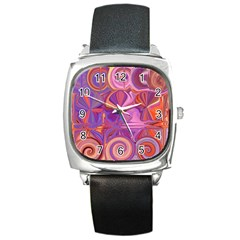 Candy Abstract Pink, Purple, Orange Square Metal Watch