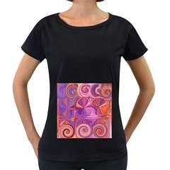Candy Abstract Pink, Purple, Orange Women s Loose-Fit T-Shirt (Black)