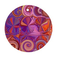 Candy Abstract Pink, Purple, Orange Round Ornament (two Sides)