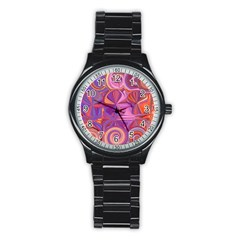 Candy Abstract Pink, Purple, Orange Stainless Steel Round Watch