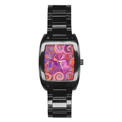 Candy Abstract Pink, Purple, Orange Stainless Steel Barrel Watch