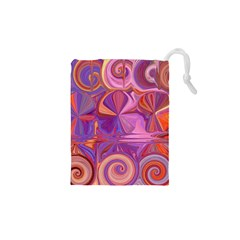 Candy Abstract Pink, Purple, Orange Drawstring Pouches (xs)