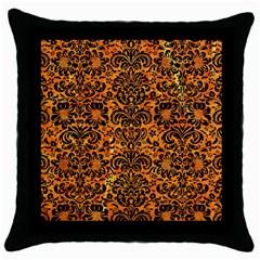 Damask2 Black Marble & Orange Marble (r) Throw Pillow Case (black)