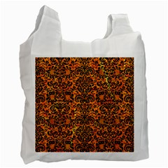 Damask2 Black Marble & Orange Marble (r) Recycle Bag (two Side)
