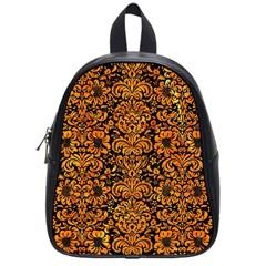 Damask2 Black Marble & Orange Marble School Bag (small)