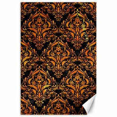 Damask1 Black Marble & Orange Marble Canvas 24  X 36