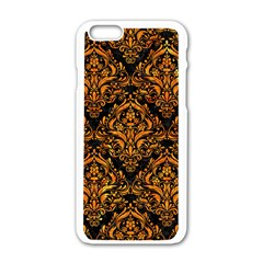 Damask1 Black Marble & Orange Marble Apple Iphone 6/6s White Enamel Case
