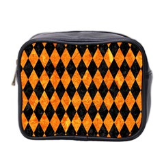 Diamond1 Black Marble & Orange Marble Mini Toiletries Bag (two Sides)