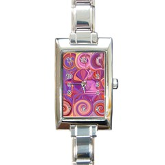 Candy Abstract Pink, Purple, Orange Rectangle Italian Charm Watch