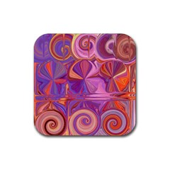 Candy Abstract Pink, Purple, Orange Rubber Coaster (square)
