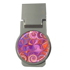 Candy Abstract Pink, Purple, Orange Money Clips (round)