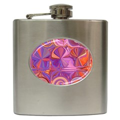 Candy Abstract Pink, Purple, Orange Hip Flask (6 oz)