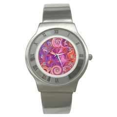 Candy Abstract Pink, Purple, Orange Stainless Steel Watch