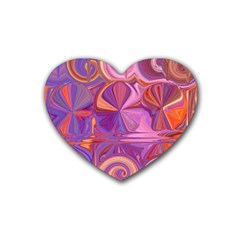 Candy Abstract Pink, Purple, Orange Rubber Coaster (heart)