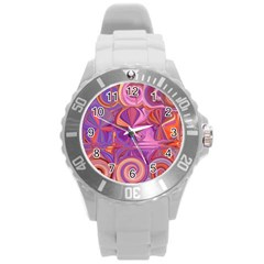 Candy Abstract Pink, Purple, Orange Round Plastic Sport Watch (l)