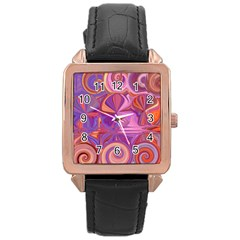 Candy Abstract Pink, Purple, Orange Rose Gold Leather Watch
