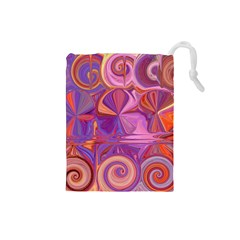 Candy Abstract Pink, Purple, Orange Drawstring Pouches (small)