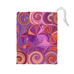 Candy Abstract Pink, Purple, Orange Drawstring Pouches (Large)